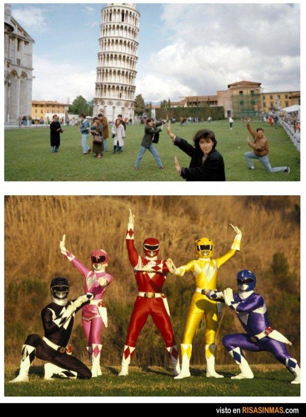 Parecidos razonables: posando en Pisa y Power Rangers