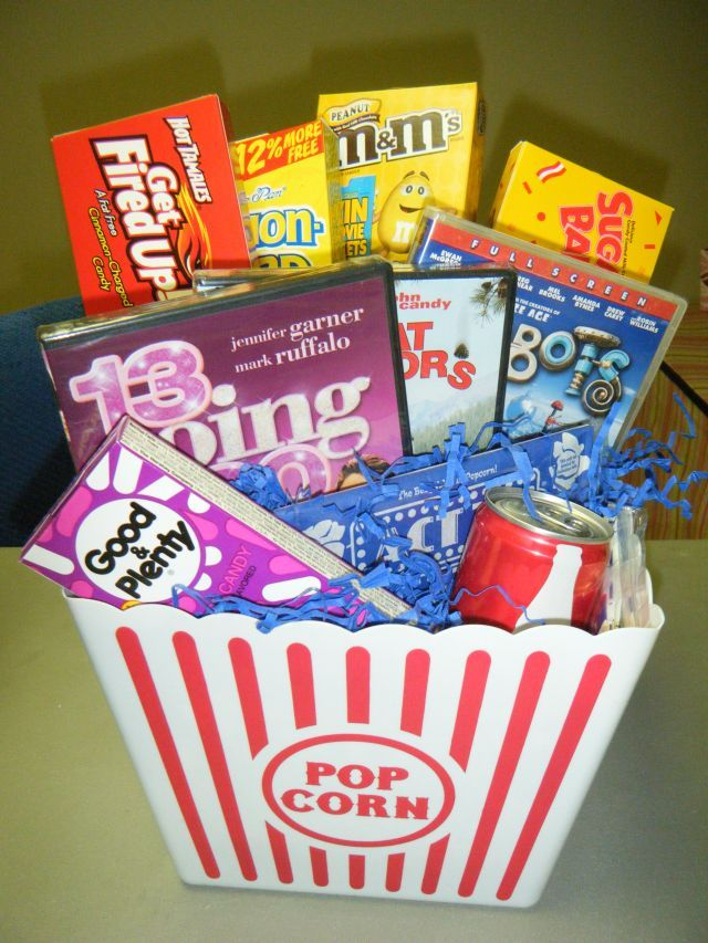 Movie gift basket. Dollar store container, Walmart or CVS