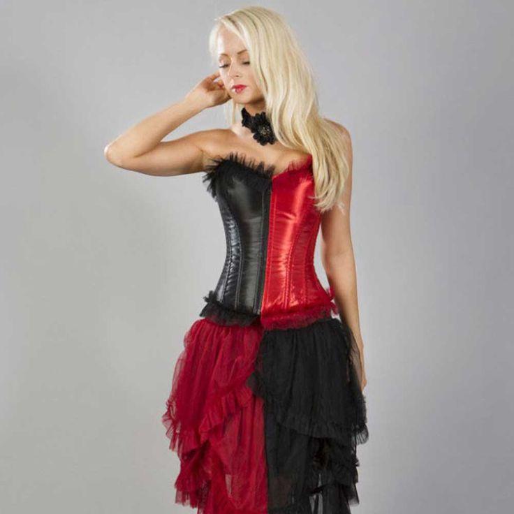 Harlequin overbust fashion korset zwart/rood satijn - Victorian burlesque
