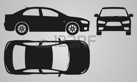 Voor boven en zijkant auto projectie Platte illustratie voor het ontwerpen van pictogrammen Stockfoto