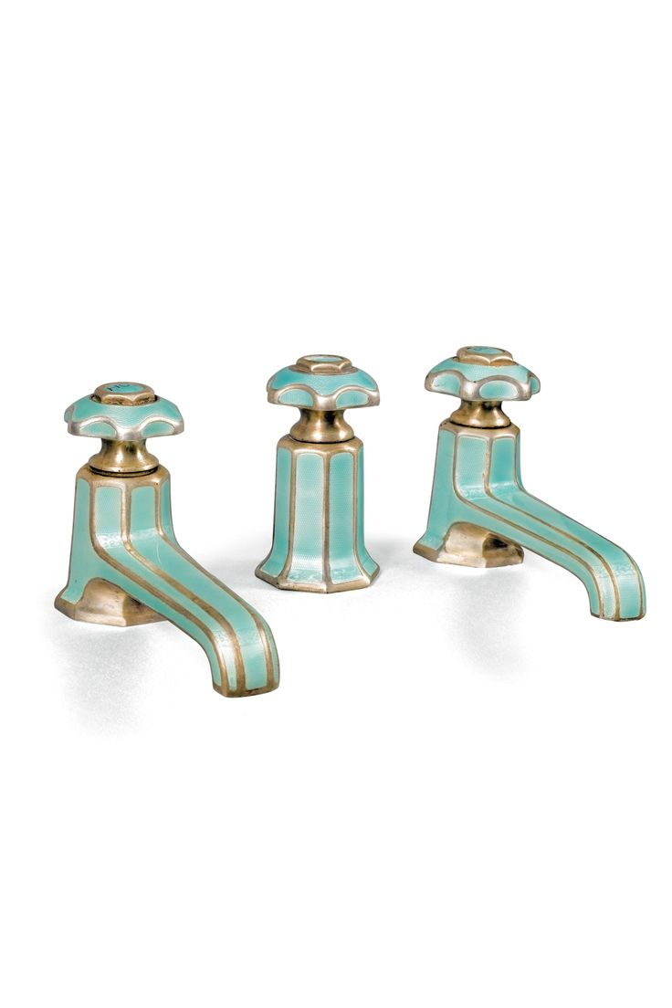 Art deco bathroom faucets - Art Deco Enameled Bath Taps 1925 1935 Marked Sterling Silver Silver