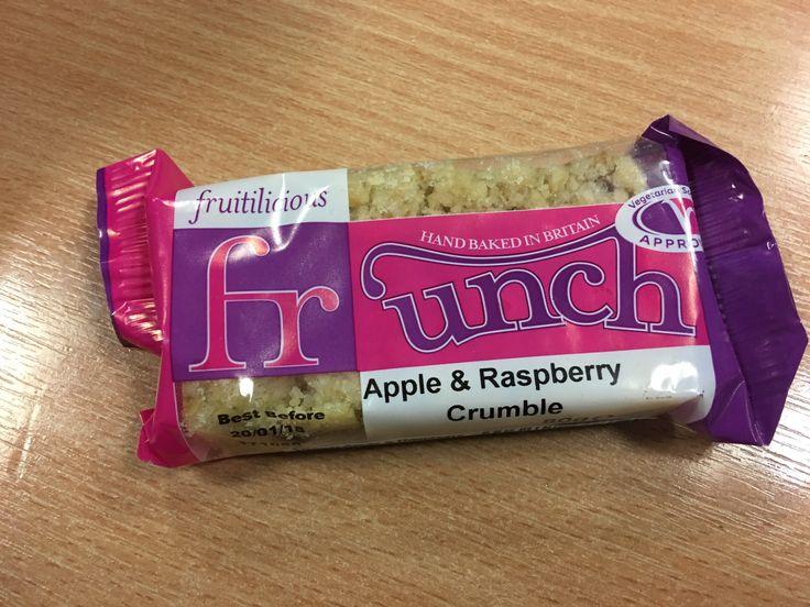 Fruitilicios Frunch Apple and Raspberry Crumble Bar. Made in Britain.