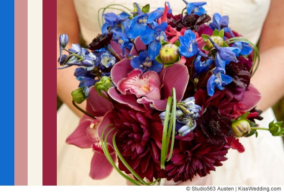 a blue color scheme for fall weddings: includes deep pink and burgundy.: Blue Colors Schemes, Colors Combos, Wedding Colors Schemes, Fall Weddings, Blue Weddings, Blue Color Schemes, Blue Bouquets, Flower, Colors Inspiration