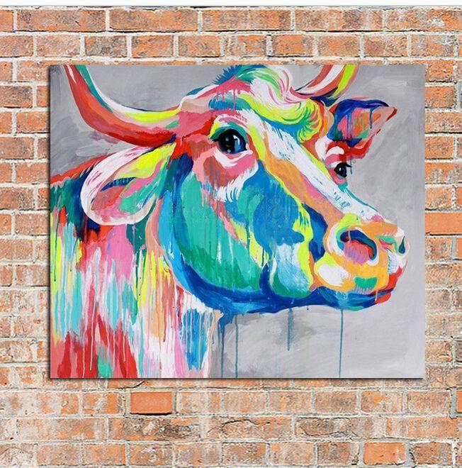 Günstige Moderne abstrakte Kunst 100% handgemaltes Ölgemälde Kuh Gemälde auf Leinwand Wandkunst Bilder für Wohnkultur beste Geschenk, Kaufe Qualität Malerei und Kalligraphie direkt vom China-Lieferanten:        Willkommen zu meinem Speicher            Dies ist 100% Handfarbe Ölgemälde, bitte verstehen, dass dieses ist Küns