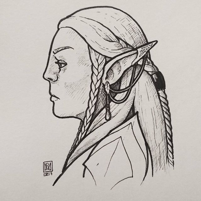 43/365 Elf 2 - Eneruiel Rhuidiir. Who takes the time to code an Elven name generator with 61 billion possible name combinations?? #drawingaday2017 #dailysketch #illustratorsofinstagram #illustration #conceptart #elven #elves #elf #profilepic