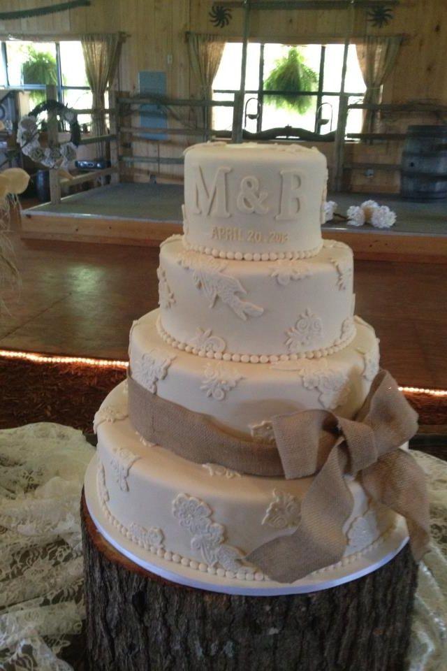 Burlap And Lace Cake Her Burlap Lace Cake Wedding Pinterest