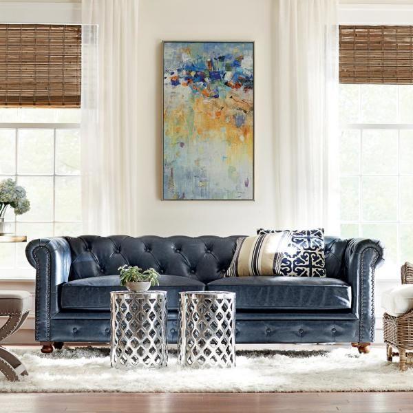 Gordon Blue Leather Sofa In 2020 Blue Leather Sofa Leather Sofa Living Room Decor Blue Sofa Decor
