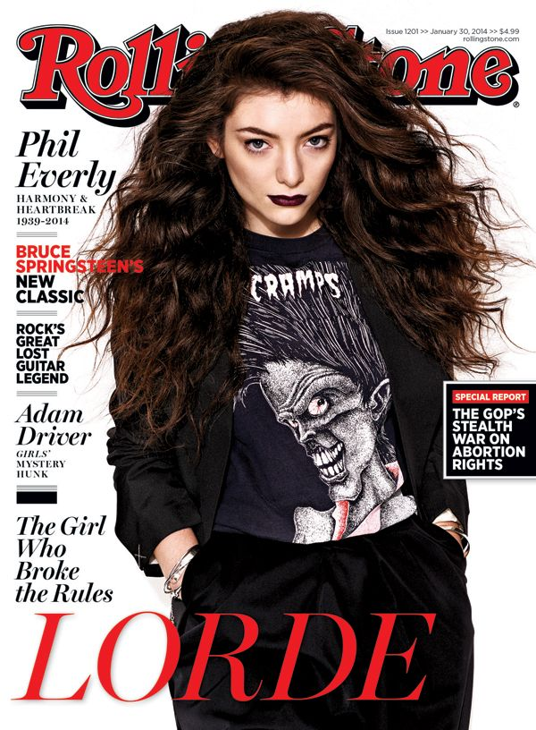 Lorde on the cover of Rolling Stone.