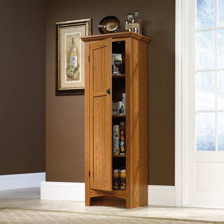 Best Awesome Brown Varnished Oak Kitchen Pantry Cabinet With 640 x 480
