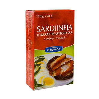 Sardiinit tomaattikastikkeessa. Kaikki merkit käy :-)