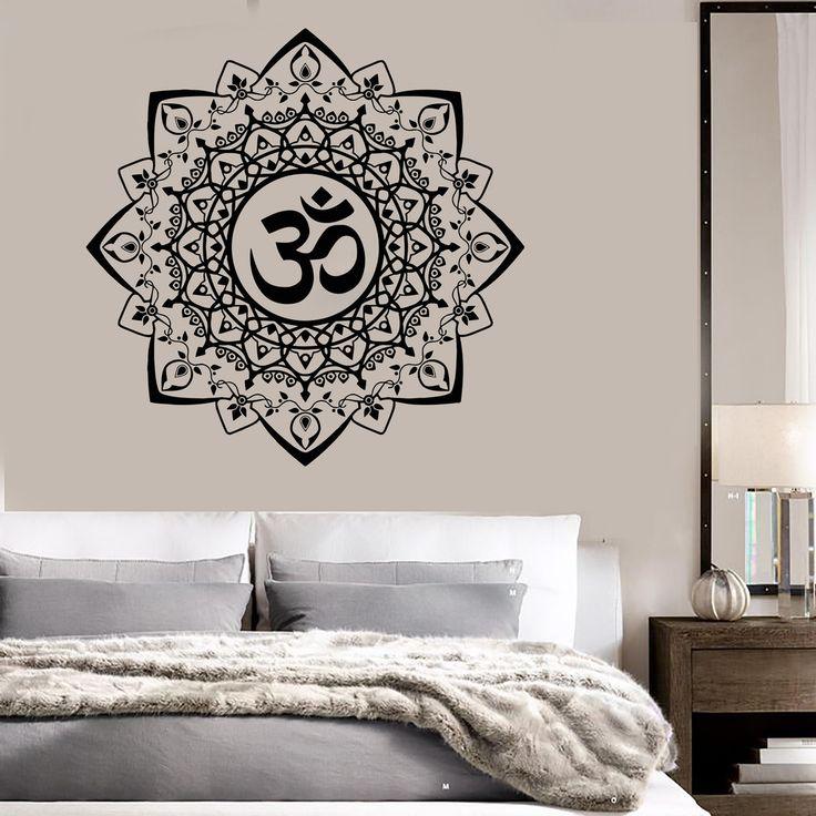 Vinyl Wall Decal Buddhism Mandala Ornament Om Bedroom Stickers Ig3513