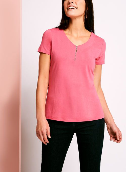 Zip Detail Double V-Neck T-Shirt