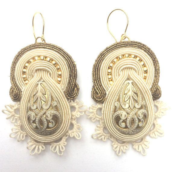 Soutache earrings with tatting Tea Fantasies drop by Lolissa