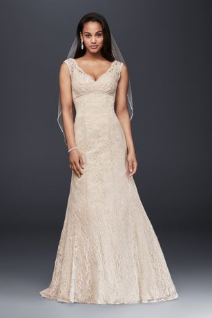 Imagine walking down the aisle wearing this gorgeous trumpet wedding dress! Elegantly crafted with allover lace, this gown features a deep v neckline, soft straps and empire waist. Select this dress and you'll have beauty at its best.   David's Bridal Collection.  Also available in Regular, Plus Size, Extra Length and Plus Size Extra Length. Check your local stores for availability.  Chapel train. Fully lined. Back zipper. Imported. Dry clean only.  Special Value! Final price listed, no