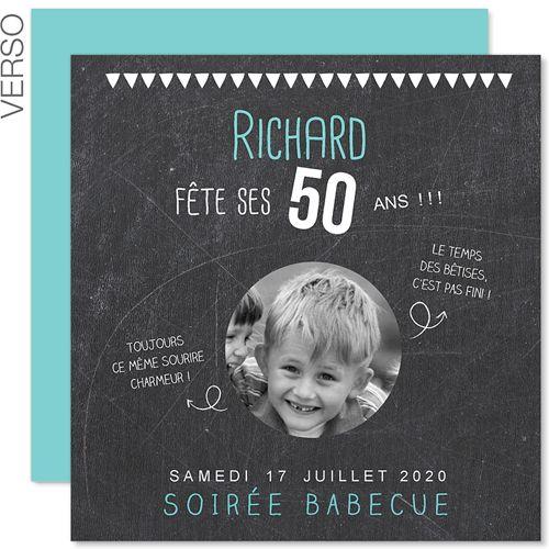Invitations Anniversaire Adulte 50 Ans Ardoise 43291 50 Anniversaire Pinterest Birthdays