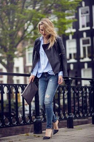 Women's Black Leather Pumps, Navy Ripped Skinny Jeans, Black Leather Clutch, Light Blue Dress Shirt, and Black Quilted Leather Biker Jacket