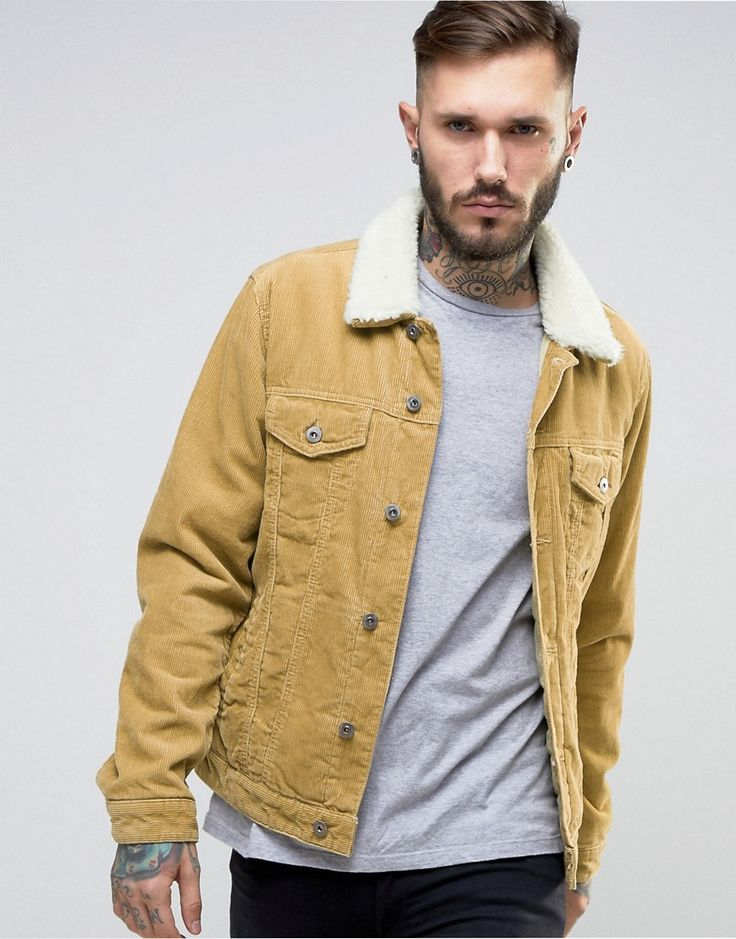 Get this Asos's denim jacket now! Click for more details. Worldwide shipping. ASOS Cord Western Jacket With Borg Collar In Camel - Beige: Jacket by ASOS, Midweight soft-touch courdroy, Borg lining, Point collar, Internal pocket, Button placket, Functional pockets, Regular fit - true to size, 100% Cotton, Machine wash, Our model wears a size Medium and is 185.5cm/ 6'1 tall.  (chaqueta vaquera, vaquera, denim, jeansjacke, chaqueta denim, veste en jean, giacca in jeans)