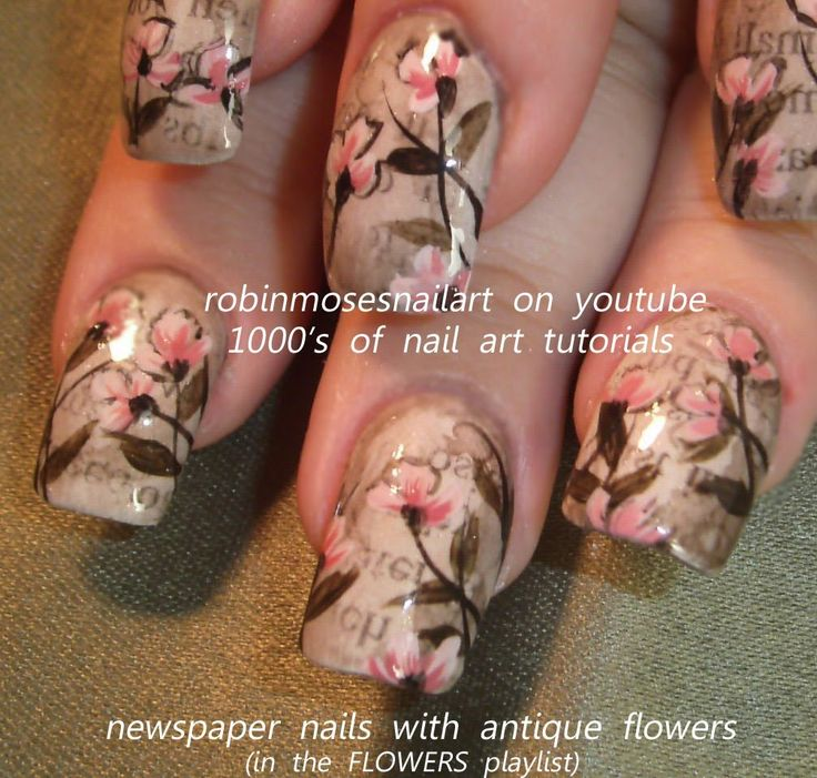 OMG I LOVE THESE!!!!! Nail Art Design | Vintage Newspaper Nails | DIY Flower Nail Art tutorial