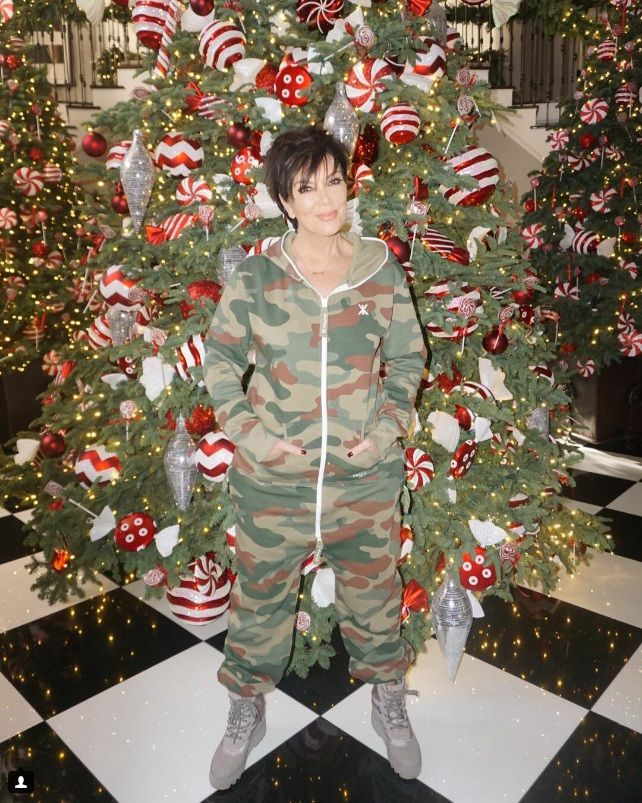 Kris Jenner wearing the Onepiece Camouflage jumpsuit