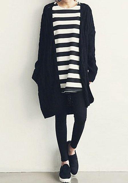 Black Cable Knit Cardigan - Unlined Knit Cardigan