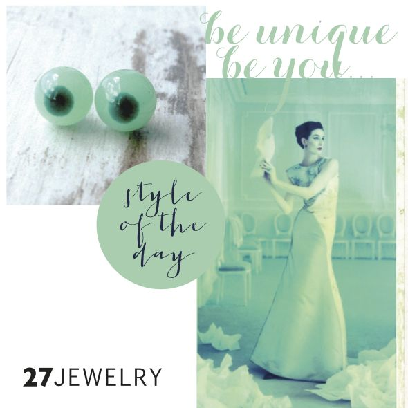 Green 27jewelry handmade glass earrings and the style of the day inspired by my friend Bara.