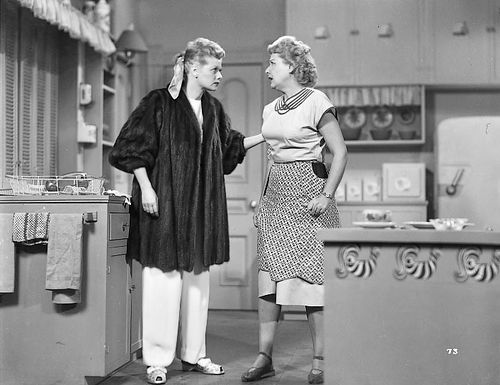 I love lucy production still the fur coat