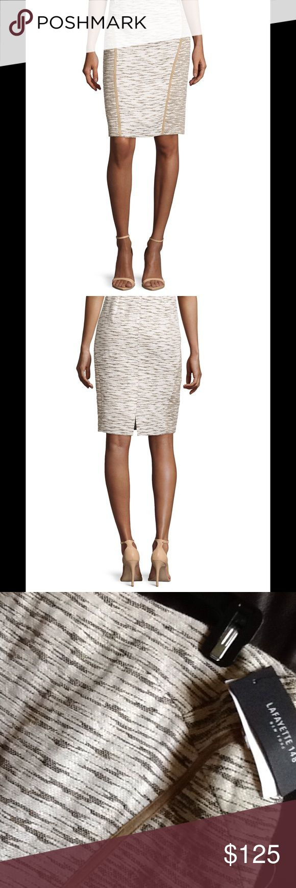 Skirt. Tweed  skirt with contrast seams. straight hem that hits below knee. Neimun Marcus Lafayette 148 New York Skirts Pencil