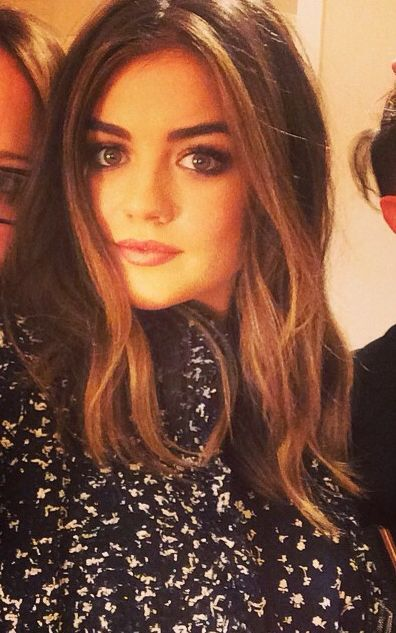 Lucy Hale face framing highlights