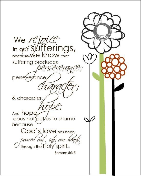 Remembering to rejoice and find delight in my suffering. Though my heart is broken and my dreams crushed, my smile is genuine, for I am GRATEFUL! Romans 5:3-5