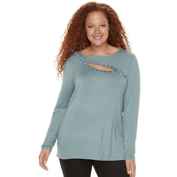 Plus Size Rock & Republic® Lace-Up Grommet Tee ($41) ❤ liked on Polyvore featuring tops, t-shirts, med grey, plus size, plus size t shirts, plus size long sleeve tops, gray t shirt, long sleeve t shirts and lace up t shirt
