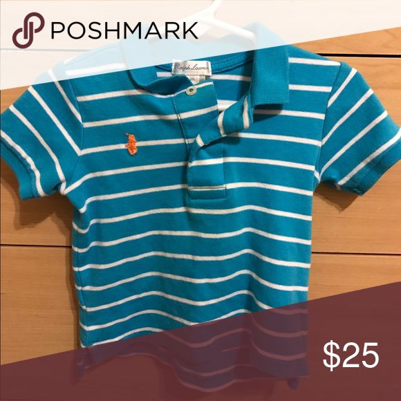 Ralph Lauren Kids Shirt 12M kids Blue & White Ralph Lauren Shirt. Been worn, no rips or stains in good Cindy still. Ralph Lauren Shirts & Tops Tees - Short Sleeve