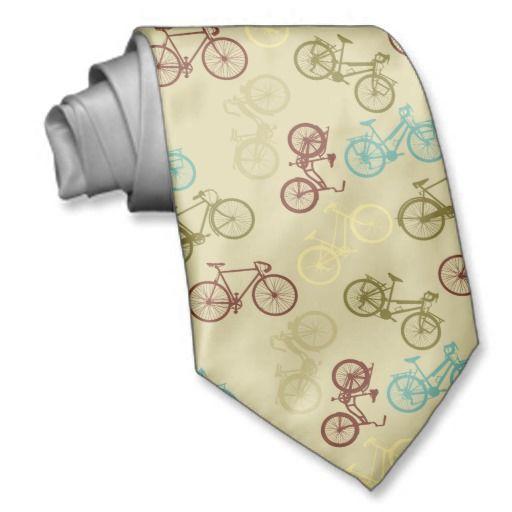 Vintage bike pattern tie
