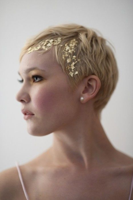 Gold flakes. for wedding perhaps? :) short hair pixie