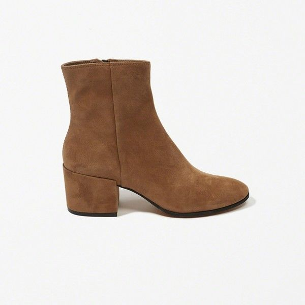 Abercrombie & Fitch Dolce Vita Maude Booties ($170) ❤ liked on Polyvore featuring shoes, boots, ankle booties, brown, studded flat shoes, studded flats, studded loafer flats, backless shoes and flats loafers
