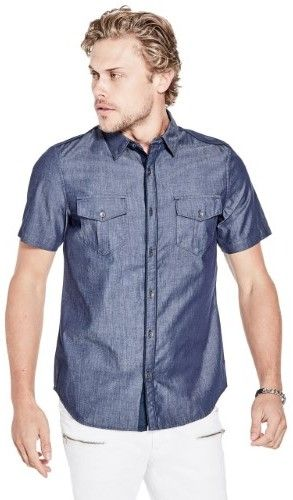GUESS Men's Blackhawk Chambray Military Shirt