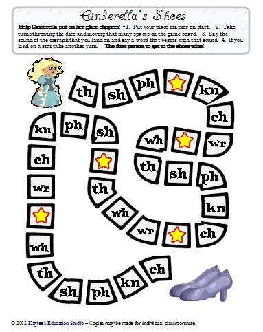 Game to practice digraphs - get Cinderella to her shoes!