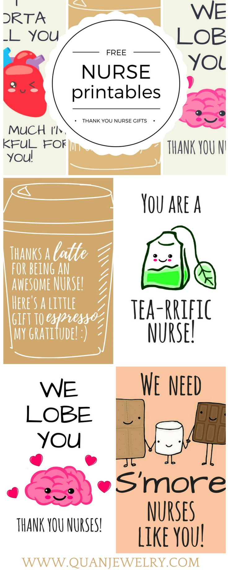 Here are some cute nurse appreciation thank you cards and gift tags that you can download, customize, and print for free. #nurse #nurses #nurseappreciation #nurseweek