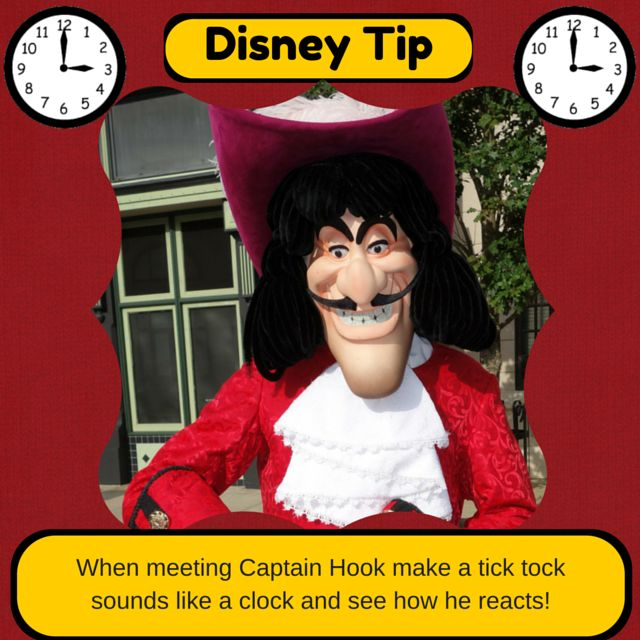 When meeting Captain Hook make a tick tock sounds like a clock and see how he reacts! #DisneyTip