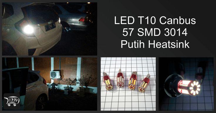 LED T10 Canbus 57 SMD 3014 Putih Heatsink, lampu LED ini bisa sangat rekomendasi juga untuk digunakan pada lampu mundur dengan socket T10 atau T15.