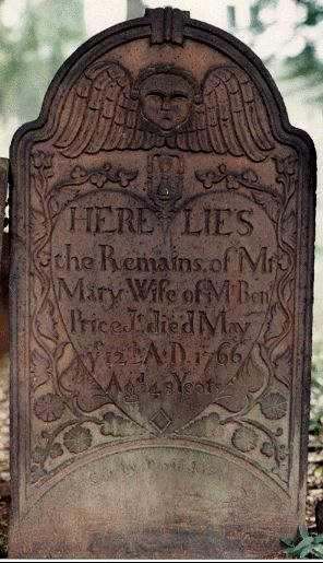 David Jeffries (apprentice of Ebenezer Price), gravestone of Mary Price, 1766, Elizabeth, NJ