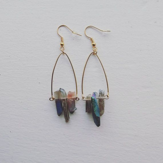 Rainbow Prism Bar Drop Earrings Rainbow by LoopsandSparkle on Etsy