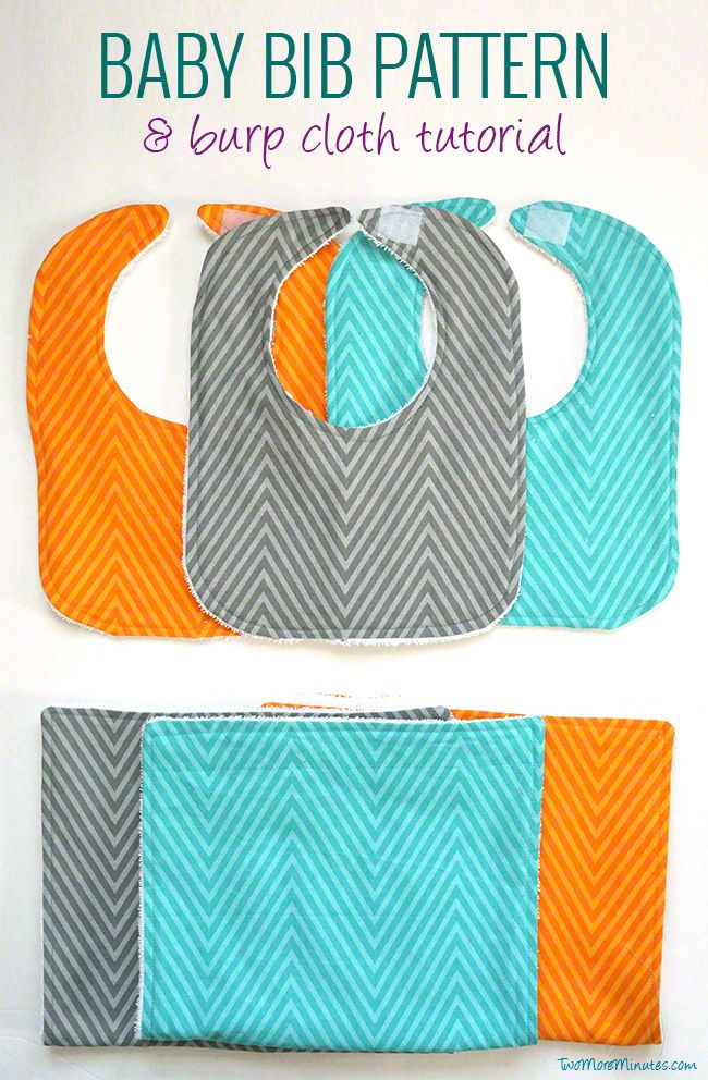 sew a bib and burp cloth from terry and a fat quarter
