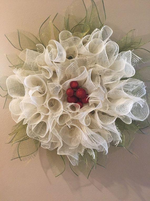 Ivory White Winter Flower Wreath Winter by ArtsyDesignsbyDee