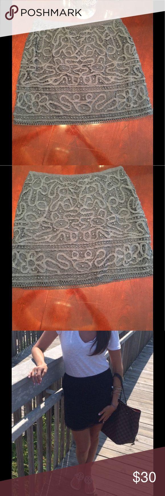 Navy blue lace mini skirt Navy blue lace mini skirt side zipper (size 6 fits like a 4) Club Monaco Skirts Mini