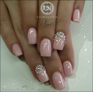 Best 25 luminous nails ideas on pinterest wedding acrylic nails luminous nails baby pink nails with crystals pearls prinsesfo Image collections