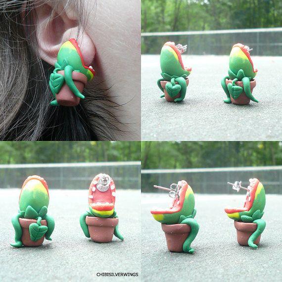 Audrey 2 Earrings Little Shop of Horrors by Chibisilverwings, $35.60