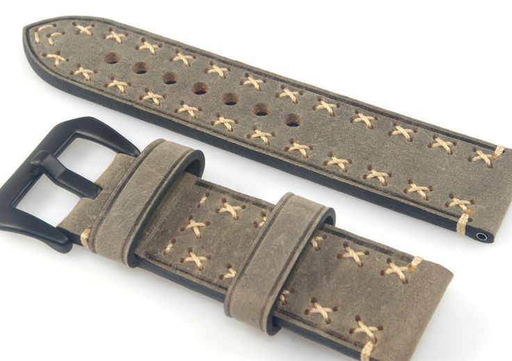 Vintage Gray Cowhide Leather Watch Band Strap Hand Stitched 20 22 24 26mm | eBay