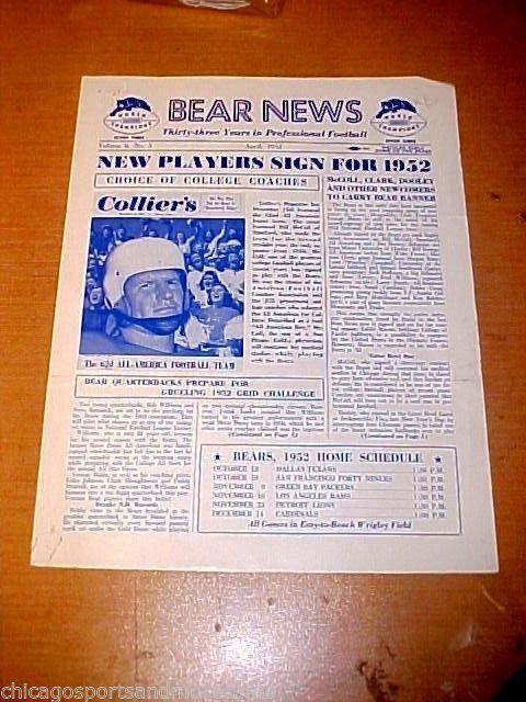 April, 1952 CHICAGO BEARS NEWS Newsletter #ChicagoBears