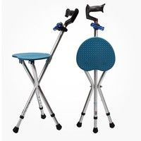 Home | Portable Adjustable Folding Walking Cane Chair Stool Massage Walking Stick with-Seat Fishing Rest Stool