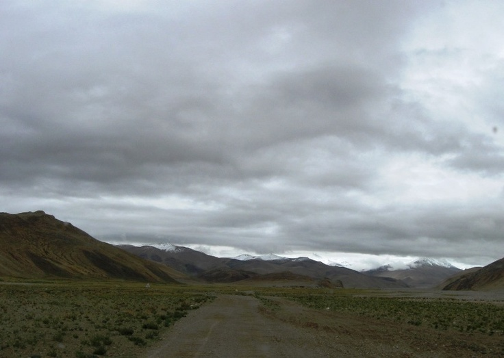 The road to Everest Base Camp - Tibet. 80 kilometers of morraine valleys, strange colours and unusual skies.